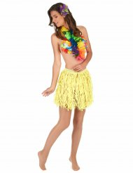 Jupe hawaïenne courte jaune papier adulte