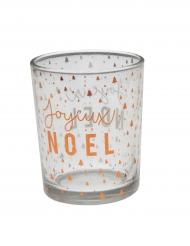 Photophore en verre Joyeux Noël cuivre