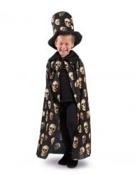Cape têtes de mort et haut de forme enfant Halloween