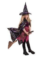 Cape avec motifs holographiques sorcière enfant