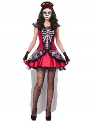 Déguisement squelette coloré rouge femme Dia de los muertos