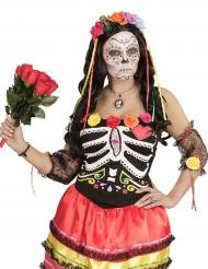 Serre-tête fleurs multicolores et rubans femme Dia de los muertos