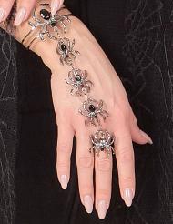 Bracelet et bague araignées femme Halloween