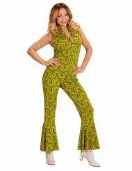 Déguisement combinaison groovy vert années 70 femme