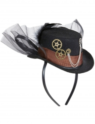 Chapeau avec voile noir adulte Steampunk