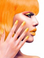 Faux ongles adhésifs oranges adulte