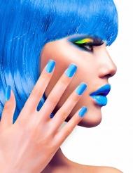 Faux ongles adhésifs bleus adulte