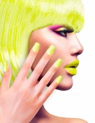 Faux ongles adhésifs jaunes adulte