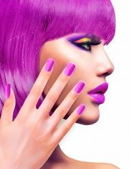 Faux ongles adhésifs violet adulte