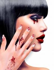 Faux ongles adhésifs ensanglantés femme Halloween