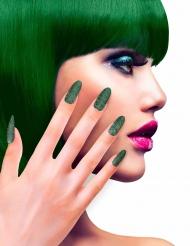 Faux ongles adhésifs verts pailletés adulte