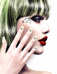 Faux ongles adhésifs blancs avec araignées femme Halloween
