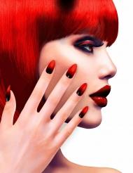 Faux ongles adhésifs noirs et rouges femme