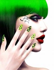 Faux ongles adhésifs motifs verts Halloween