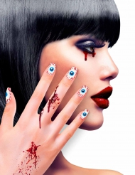 Faux ongles adhésifs yeux adulte Halloween