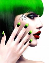 Faux ongles adhésifs noirs et verts adulte