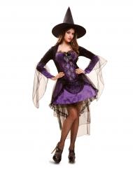 Déguisement sorcière glamour violet femme Halloween