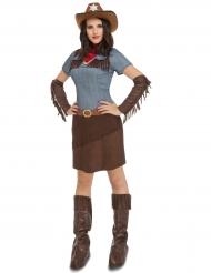 Déguisement cowgirl marron à franges femme