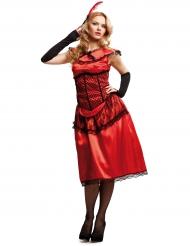 Déguisement dame de cabaret rouge femme