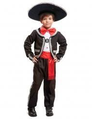 Déguisement mexicain noir et rouge garçon