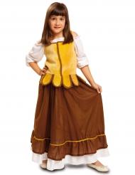 Déguisement tavernière médiévale jaune et marron fille