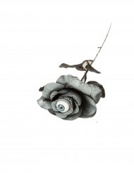 Rose grise avec oeil 40 cm Halloween