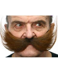 Moustache large marron adulte