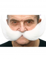 Moustache large blanche adulte
