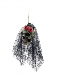 Tête de mort avec voile à suspendre  Halloween 50 cm