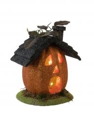 Maison citrouille lumineuse Halloween 23 cm