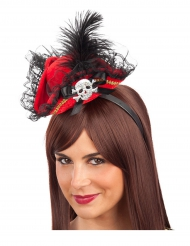 Mini chapeau pirate rouge femme