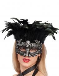 Masque argenté avec plumes femme