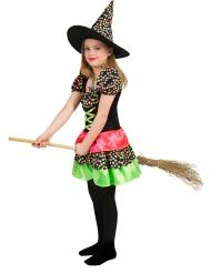 Déguisement sorcière à pois colorés fille Halloween