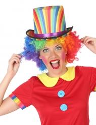 Chapeau haut de forme rayé multicolore adulte