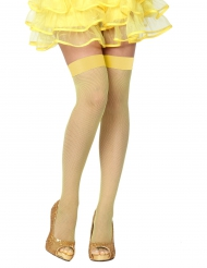 Bas résilles jaunes femme