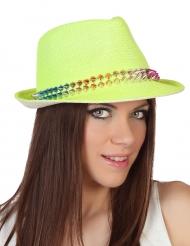 Chapeau borsalino jaune avec bande cloutée adulte