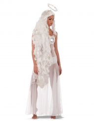 Perruque longue ange avec auréole femme
