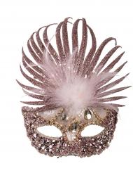 Loup pailleté avec plumes luxe femme