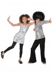 Déguisement de couple disco paillettes argent enfant