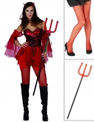 Pack déguisement diablesse femme avec collants et fourche Halloween