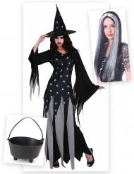 Pack déguisement sorcière femme avec chaudron et perruque Halloween
