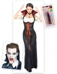 Pack déguisement vampire femme avec dents et faux sang Halloween