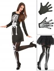 Pack déguisement squelette femme avec bas et gants Halloween