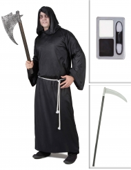 Pack déguisement faucheur avec faux et maquillage Halloween