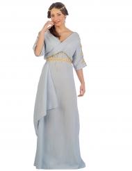 Déguisement princesse romaine bleu femme