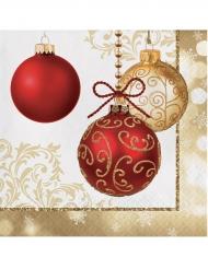 16 Serviettes en papier dorées Boules de Noël