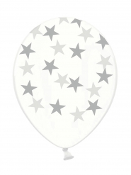 6 Ballons latex transparents étoiles argentées 30 cm