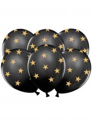 6 Ballons latex noirs étoiles dorées