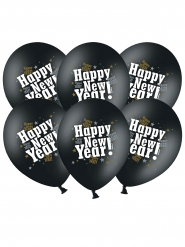 6 Ballons latex happy new year noir
