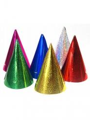 20 Chapeaux de fête colorés holographiques 16 x 10 cm